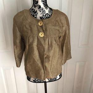 Michael Kors 3/4 Sleeve Metallic Gold Swing Jacket